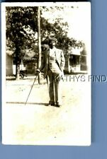 FOUND B&W PHOTO G+7412 BLACK MAN IN HAT POSED HOLDING CANE
