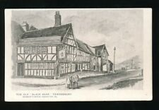 Gloucestershire Glos TEWKESBURY The Old Black Bear Inn line drawing PPC Burrows
