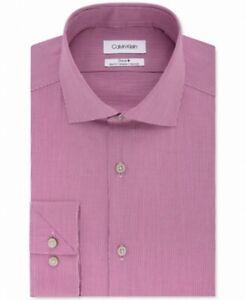 Calvin Klein Mens Dress Shirt Red Size Medium M Slim Fit Mini Grid $79 #078