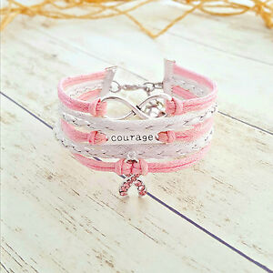 Courage Infinity Pink Rhinestone Ribbon Charm Bracelet, Breast Cancer Awareness