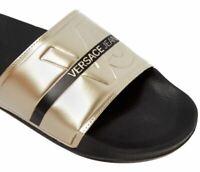 Versace Jeans men's beach/pool slides in black & mirror gold