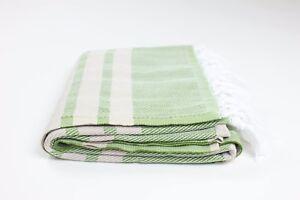 PREMIUM Turkish Herringbone Towel Fouta Peshtemal Beach Bath Khaki Green & Beige