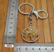 Très beau porte-clés arbre de Vie en CITRINE naturelle mousqueton et rond
