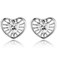 Elegant white gold finish heart stud earrings quality jewellery gift UK seller