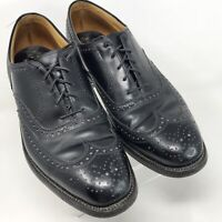 Johnston & Murphy Aristocraft Wingtip Oxfords Black Leather Men's Sz 10.5 D/B