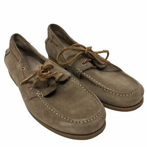 Fossil Mens Casual Boat Shoes Leather Suede Size 11 Leather Stitching And Tie