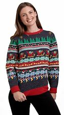 Christmas Jumper Ladies Women Cracking Xmas Knit Sweater Pullover Nordic Multi
