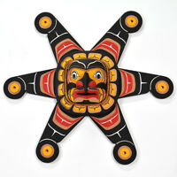 "Traditional Sun Mask Kwakiutl Cedar 32"" Diameter Hand-Carved Northwest Native"