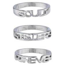 Lux Accessories Silver Tone Soul Sisters Forever BFF Best Friends Ring Set 3PC