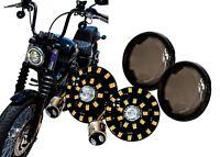 Black Out Dual White Amber LED Turn Signal Harley 1157 Bulb smoke lens plug play