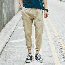 Men's Harem Trousers Cotton Cropped Pants Casual Loose Baggy Ankle Length Khaki