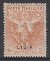Italy Libia - Sassone n. 16ac cv 180$  MH* Red Cross Double variety  rare