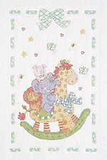 Jack Dempsey Stamped Quilt Crib Top 40 by 60-Inch Giraffe and Friends White
