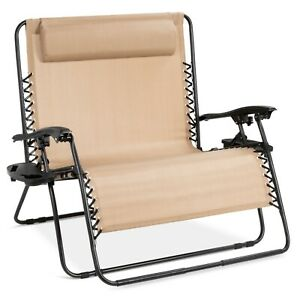 2-Person Double Wide Folding Zero Gravity Chair Patio Lounger W/ Cup Holders