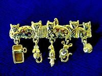 Vintage Signed CAJC 5 Cats w/Dangle Mice/Yarn/Bird/Can Gold Tone Pin - Estate