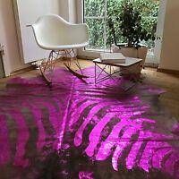 Kuhfell Rinderfell Beige mit Rosa / Pink Zebraprint! 210cm x 200cm, NEU, RUG