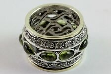 Spinner Ring Sterling Silver 14k Solid Gold with Peridot and CZ stones Handmade