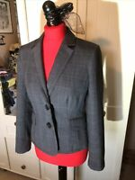 HOBBS Ladies Grey Check Wool Blend Smart Tailored Classic Blazer Jacket Size 10
