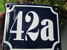Hausnummer Emaille Nr. 42a weisse Zahl auf blauem Hintergrund 12 cm x 10 cm