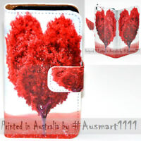 For HTC Series Mobile Phone - Heart Tree Theme Print Wallet Phone Case Cover