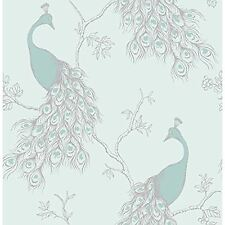 EMPRESS PEACOCK WALLPAPER - DUCK EGG BLUE & TEAL - FD40713 - FINE DECOR
