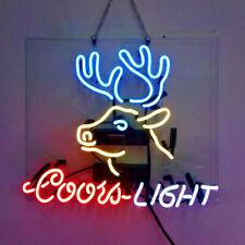 Real Glass Display Neon Signs coors light deer 19X15-006