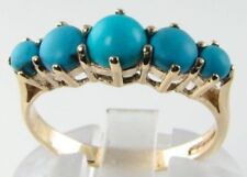 CLASSIC 9CT 9K GOLD PERSIAN TURQUOISE HALF ETERNITY RING FREE RESIZE