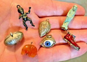 Lot of Antique Charm Bracelet Sterling Silver Charms Enamel Eye Football