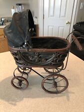 ANTIQUE Baby Doll Stroller Vintage  Wooden Carriage And Iron Fram And Wheels.