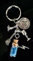 HARRY POTTER KEYCHAIN 9 3/4 Hogwarts Express DEATHLY HALLOWS Charm Keyring Gift