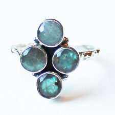 925 Solid Sterling Silver Faceted Semi-Precious Labradorite Stone Ring - Size 9