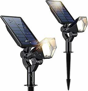 2 x Solar Lights Cool White LED Garden Outdoor Garden Lamps 3 Modes Uplights