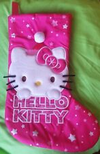 "Sanrio Hello Kitty Christmas Stocking Holiday Pink Stars Applique 17"""