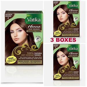 3 BOXES! Dabur Natural Brown Henna Hair Color Powder NO AMMONIA w/ Brush & Glove