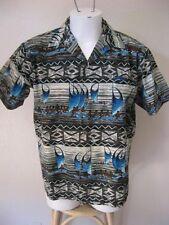 Vintage 60s Hawaiian Shirt L Hawaiian Holiday Sportswear Canoe Aloha Print Large