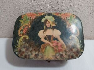 Victorian 1800's Cardboard Hinged Beautiful Victorian Woman Colored Sewing Box