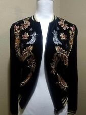 Nasty Gal NWOT Embroidered Astro Space Case Velvet Bomber Jacket Size: Small
