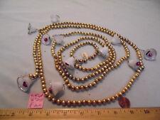 "Christmas Garland Mercury Glass Gold 96"" Long 5/16"" Beads, Bells #PL40 Vintage"