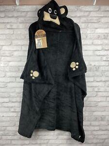 Lazy One Black Bear Animal Blanket Hoodie Kids Wearable Blanket NWT