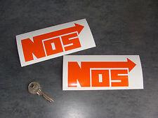 2x stickers NOS Orange 13cm Auto Moto Car decals pegatinas aufkleber A118-034