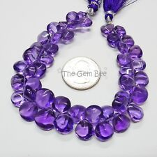 Gem African Purple Amethyst Fancy Concave Cut Heart Briolette Bead 8 inch strand