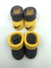 2 Pair Nike Newborn Infant Booties 0-6 Month (unisex) Yellow And Gray Baby Shoes