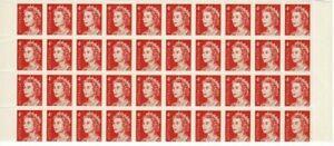 Stamps 1966 Australia 4c red QE2 in marginal block of 40 MUH