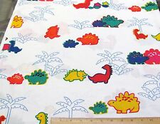 "10 YDS  DINOSAURS PRIMARY COLORS  ""FUN ZONE"" ALL COTTON FABRIC HOFFMAN WHOLESALE"