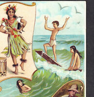 Antique 1893 Surfing Hawaii Island Sport History Arbuckle Coffee Trade Card