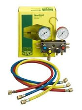 Refco 4-WAY MANIFOLD SET BM4-3-DS-R22 Burdon Type Gauges, Hoses, Sight-Glass