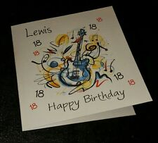 *Guitar* Music Themed Personalised Birthday Card - Age - Son Brother Nephew Dad