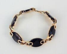 Vintage F. Scheuerle Quinn Onyx & 835er Silber vergoldet Armband 20cm 60er 70er