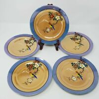 Set of 5 Vintage Made in Japan Lusterware Salad Plates Hand Painted Parrot