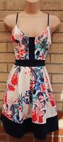 KIAH WHITE QUILTED FEEL FLORAL MULTI COLOUR STRAPPY SKATER A LINE TEA DRESS 6 XS